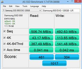 Samsung 850 evo Benchmark