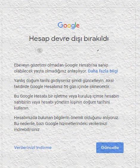 Google Hesap Devre Dışı Bırakıldı