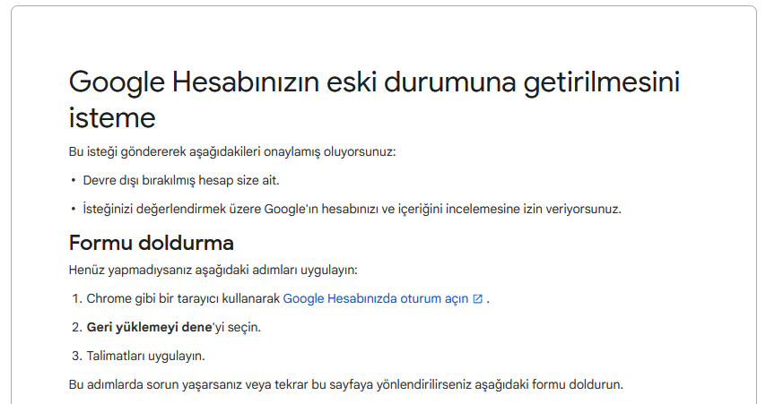 Google Hesap Kurtarma